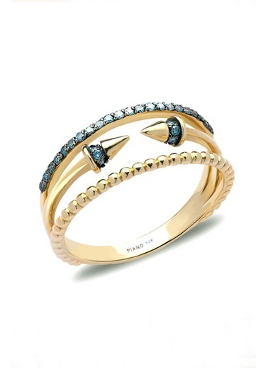Piano Jewellery Cabaret Ok Mavi Pırlanta Yüzük 14 Ayar Pembe